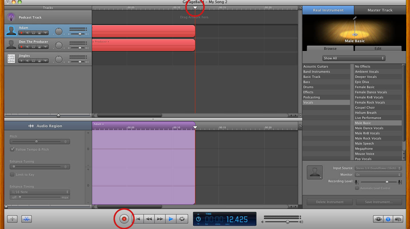 how to put a song in garageband